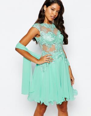 Forever Unique Кружевное платье для выпускного. Цвет: зеленый