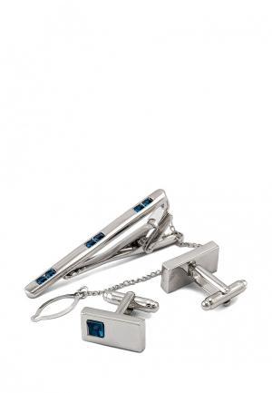 Комплект запонки и зажим для галстука Greg. Цвет: синий, серебряный