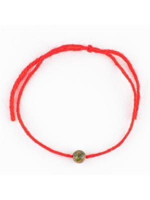 Браслет Красная нить яшма Колечки. Цвет: зеленый