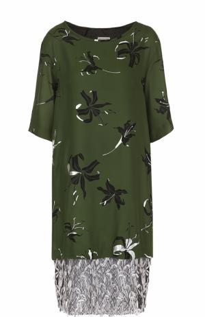 Шелковое платье с принтом и кружевной отделкой Dries Van Noten. Цвет: зеленый