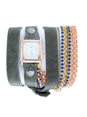 Часы La Mer Collections Crystal Sapphire Blue. Цвет: черный