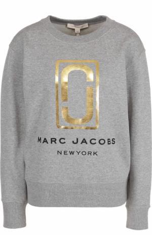 Хлопковый свитшот с металлизированным логотипом Marc Jacobs. Цвет: серый