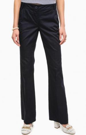 Расклешенные синие хлопковые брюки на молнии Pennyblack. Цвет: синий