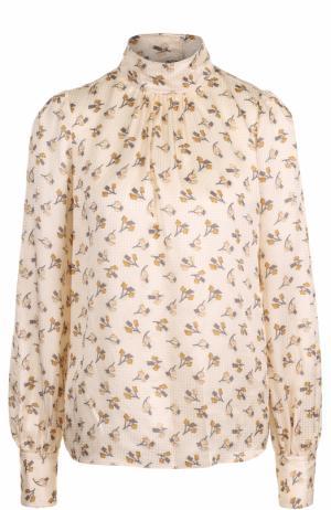 Шелковая блуза с принтом и воротником-стойкой Marc Jacobs. Цвет: кремовый