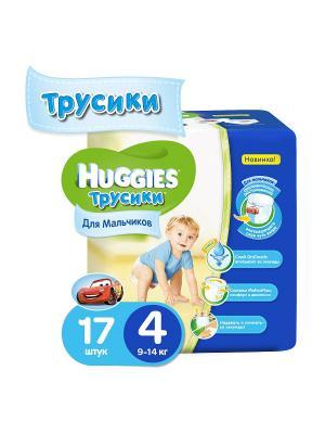 Подгузники-трусики Размер 4 9-14кг 17шт для мальчиков HUGGIES. Цвет: голубой, синий