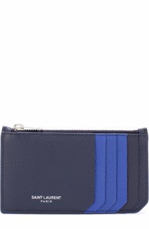 Кожаный футляр для кредитных карт с логотипом бренда Saint Laurent. Цвет: темно-синий