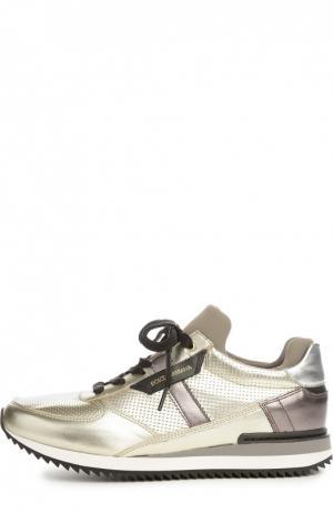 Кроссовки из металлизированной кожи Dolce & Gabbana. Цвет: золотой
