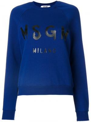 Толстовка с принтом-логотипом MSGM. Цвет: синий