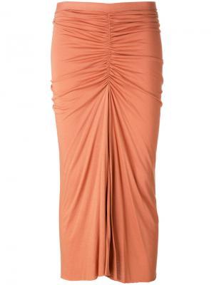 Присборенная юбка миди Rick Owens Lilies. Цвет: жёлтый и оранжевый