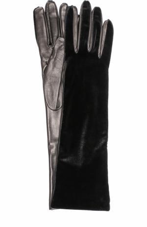 Удлиненные кожаные перчатки с бархатной отделкой Armani Collezioni. Цвет: черный