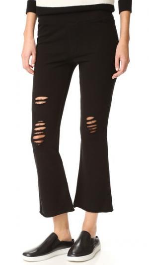 Укороченные расклешенные брюки Pam & Gela. Цвет: голубой