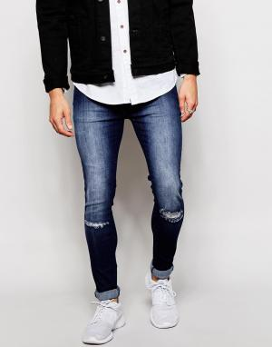 Loyalty & Faith Темные рваные джинсы с напылением. Цвет: синий