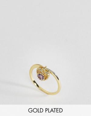 Rock 'N' Rose Кольцо с полудрагоценным камнем аметистом для родившихся в феврале Roc. Цвет: золотой