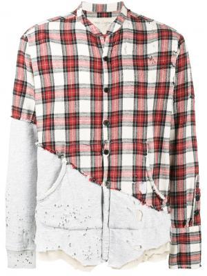 Рубашка в клетку Greg Lauren. Цвет: красный
