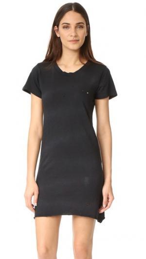 Платье-футболка с эффектом поношенности LNA. Цвет: черный калий