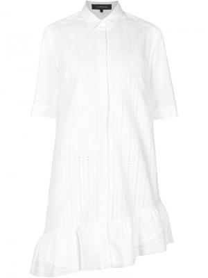 Ажурное платье-рубашка с рюшами Thakoon. Цвет: белый