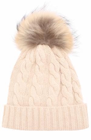 Кашемировая шапка с меховым помпоном Kashja` Cashmere. Цвет: светло-бежевый