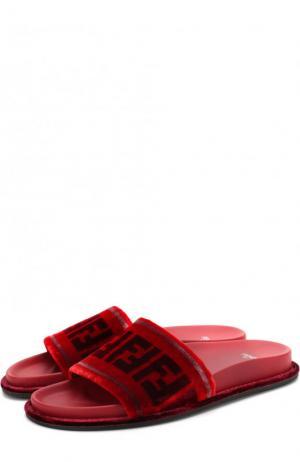 Текстильные шлепанцы с логотипом бренда Fendi. Цвет: красный