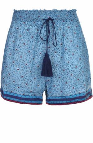 Мини-шорты с контрастной отделкой и эластичным поясом Talitha. Цвет: бирюзовый