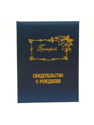 Именная обложка для свидетельства о рождении Григорий Dream Service. Цвет: синий