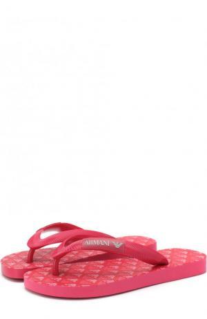 Шлепанцы с логотипом бренда Armani Junior. Цвет: фуксия