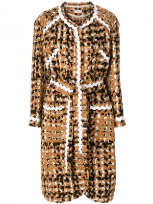 Длинное твидовое пальто Veronique Leroy. Цвет: коричневый