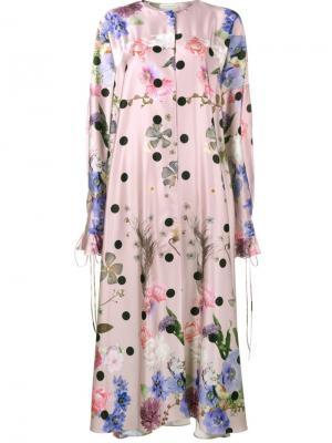 Атласное платье с цветочным принтом Natasha Zinko. Цвет: розовый и фиолетовый