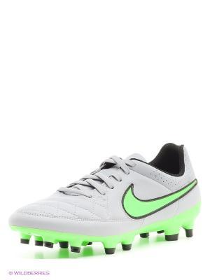 Бутсы TIEMPO GENIO LEATHER FG Nike. Цвет: светло-серый, светло-зеленый