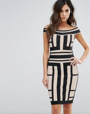 Wow Couture Платье с открытыми плечами и контрастными вставками. Цвет: мульти