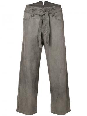 Укороченные брюки с поясом Horisaki Design & Handel. Цвет: серый