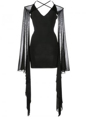 Короткое платье с расклешенными рукавами Balmain. Цвет: чёрный