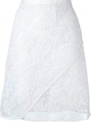 Юбка с вышивкой Carven. Цвет: белый