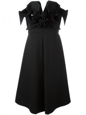 Расклешенное платье с оборками Junya Watanabe Comme Des Garçons. Цвет: чёрный