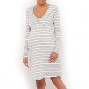 Ночная рубашка для периода беременности и кормления грудью COCOON. Цвет: серый/белый в полоску