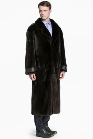 Норковая шуба с кожаной отделкой  125125 Igor Gulyaev. Цвет: черный