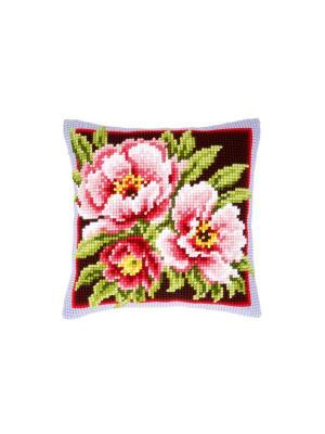 Набор для вышивания лицевой стороны наволочки Розовые цветы 40*40см Vervaco. Цвет: коричневый, красный, розовый, зеленый