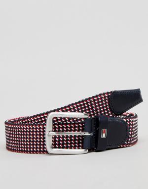 Tommy Hilfiger Плетеный ремень красного/белого/синего цвета. Цвет: мульти