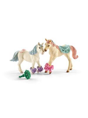 Набор лошадей с кормом SCHLEICH. Цвет: голубой, бежевый, розовый