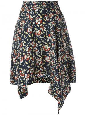 Асимметричная юбка с цветочным принтом Isabel Marant. Цвет: чёрный