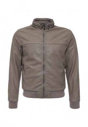 Куртка кожаная Warren Webber. Цвет: серый