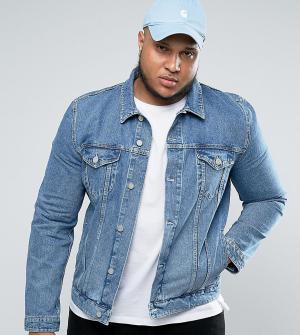 ASOS Голубая выбеленная джинсовая куртка PLUS. Цвет: синий