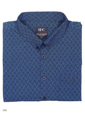 Рубашка IFC. Цвет: синий, черный