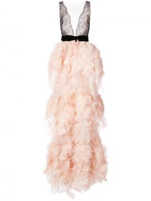 Тюлевое длинное платье Marchesa. Цвет: розовый и фиолетовый