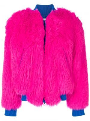 Two-tone fur jacket Alberta Ferretti. Цвет: розовый и фиолетовый