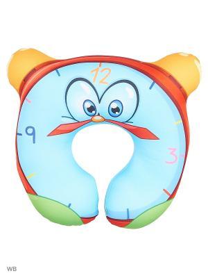 Подушка-игрушка антистресс под шею Оранжевый кот. Цвет: голубой