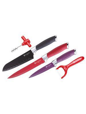 Набор ножей Floret с антибактериальным покрытием, 8 предметов Elff Ceramics. Цвет: красный, черный, фиолетовый