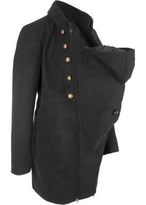 Пальто для беременных с карманом-вкладкой малыша (черный) bonprix. Цвет: черный