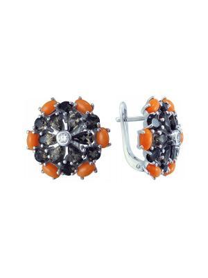 Серьги BALEX. Цвет: коричневый, коралловый, серебристый