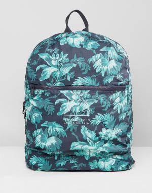 Jack Wills Нейлоновая сумка с гавайским принтом Benville. Цвет: темно-синий