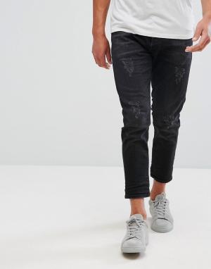 Selected Homme Укороченные зауженные джинсы с рваной отделкой. Цвет: черный